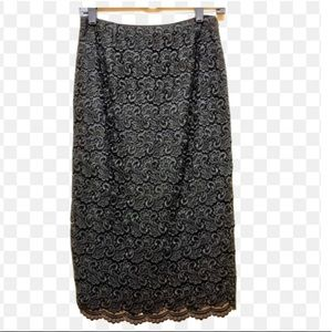 TALBOTS Embroidered Lace Black Pencil Skirt Sz 4